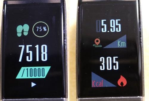 歩数と運動量の表示