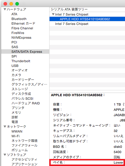 macminiのHDD取付け場所を確認